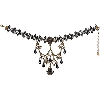 Gothik Halskette 'Katherine', schwarz/altgold