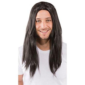 Perruque à cheveux longs 'Victor', noir