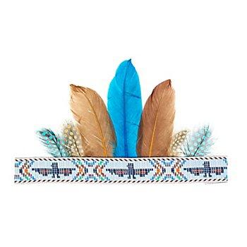 Bandeau amérindien 'plume bleue'