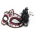 """Masque vénitien """"La Catrina"""", blanc/noir/rouge"""