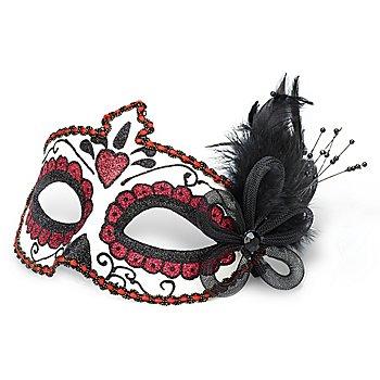 Venezianische Maske 'La Catrina', weiß/rot/schwarz