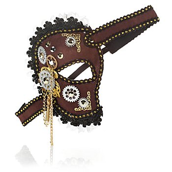 Masque Steampunk 'inventrice', marron/noir
