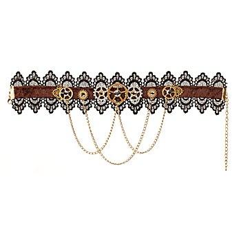 Steampunk Halskette 'Zeitreise', braun/schwarz