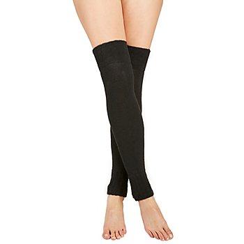 Overknee Strick-Beinstulpen, schwarz
