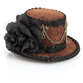 Steampunk Mini-Hütchen 'Gwendolyn', braun/schwarz