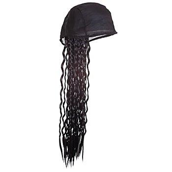 Foulard de pirate avec perruque, noir