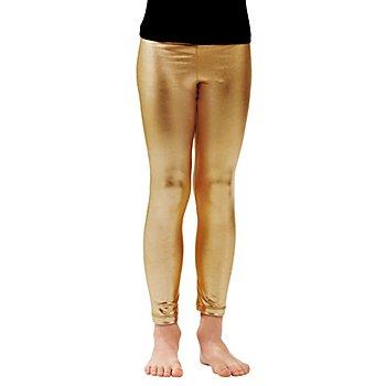 Leggings en tissu laqué extensible pour enfants, or
