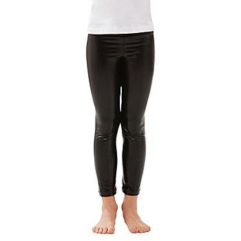 Leggings aus Stretchlack für Kinder, schwarz