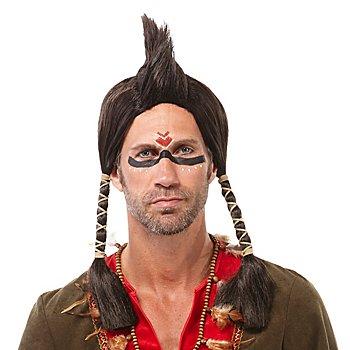 Indianerperücke 'Irokese', braun