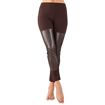 Legging avec empiècements en cuir, marron