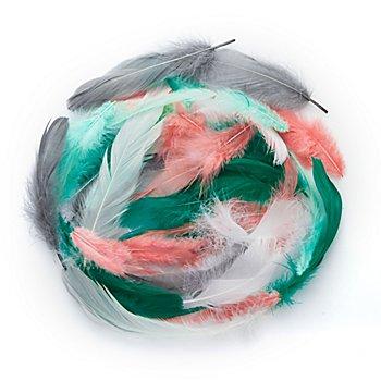 Plumes véritables, vert menthe/pêche/gris, 8 g = env. 100-110 plumes