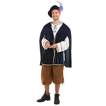 Costume châtelain 'Tristan', bleu foncé/blanc