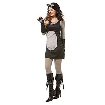 buttinette Costume 'chat' pour femmes, noir/gris
