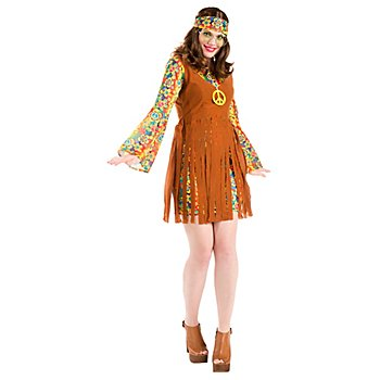 Robe hippie 'Happy Flora' pour femmes, marron/multicolore
