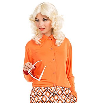 70s Bluse 'Retro-Lady', orange