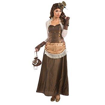 Robe Steampunk 'Lady Victoria' pour femmes, marron/noir