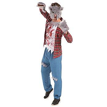 Costume de loup-garou pour hommes, rouge/blanc/bleu