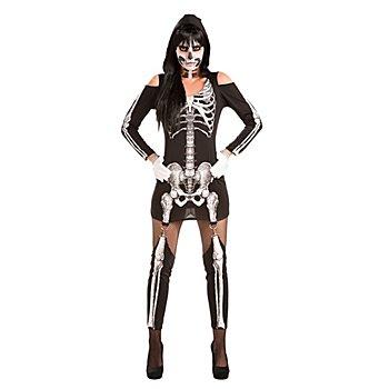 Skelett Kostüm 'Skeletta' für Damen