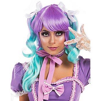 buttinette Perruque 'Manga Ayaka', violet/turquoise