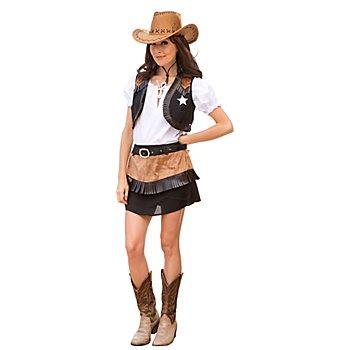 Costume de cowgirl 'Wild Lucy' pour femmes, noir/marron