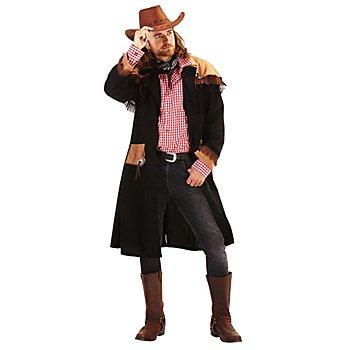 Manteau de cowboy pour hommes, noir/marron