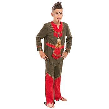 buttinette Costume d'Amérindien 'petit blaireau' pour enfants, marron/rouge