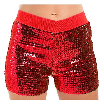 Mini-short à paillettes, rouge