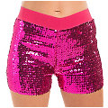 Pailletten-Hotpants, pink