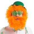 Perruque à cheveux bouclés avec barbe, orange