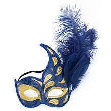 Venezianische Glitzermaske, blau/gold