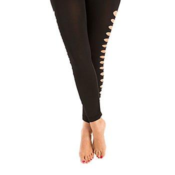 Leggings 'Schlitze', schwarz