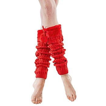 Jambières tricotées avec pompons, rouge