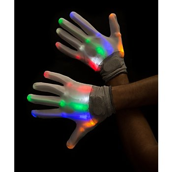 Gants LED, blanc/multicolore