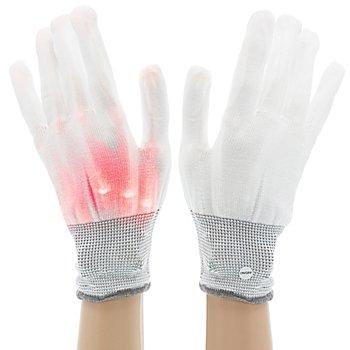 Gants LED, blanc/rouge