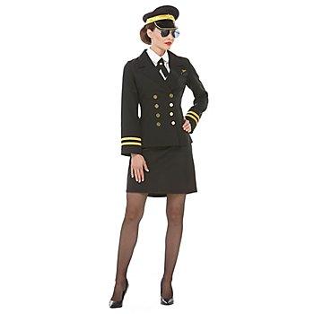 Pilotin Kostüm für Damen, schwarz
