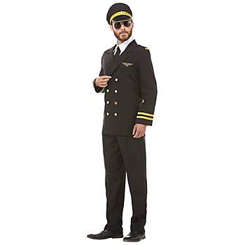 Pilot Kostüm für Herren, schwarz