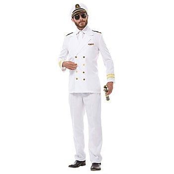 Kapitän Kostüm für Herren, weiss