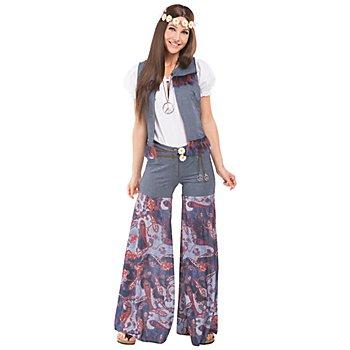 buttinette Costume de hippie 'Stella' pour femmes, bleu/multicolore