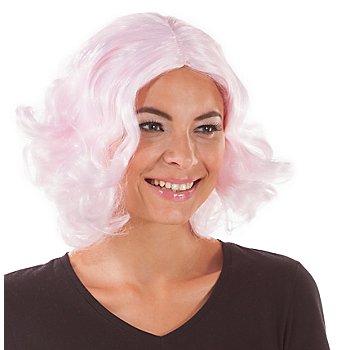 Bob-Perücke mit Locken, rosa