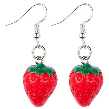 Boucles d'oreilles 'fraise', rouge