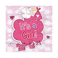 "Serviettes en papier ""It's a Girl"", rose"
