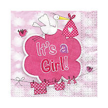 Serviettes en papier 'It's a Girl', rose