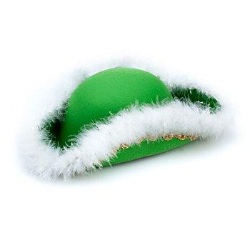 Chapeau de majorette avec plumes de marabout pour enfants, vert