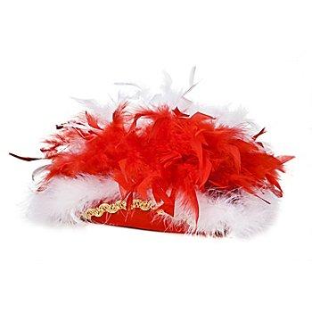 Chapeau de majorette avec plumes pour enfants, rouge/blanc