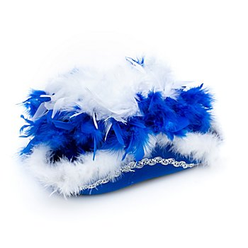 Chapeau de majorette avec plumes, bleu/blanc