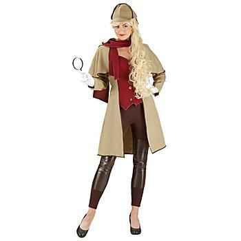 Déguisement de détective pour femmes, marron (à carreaux)/rouge