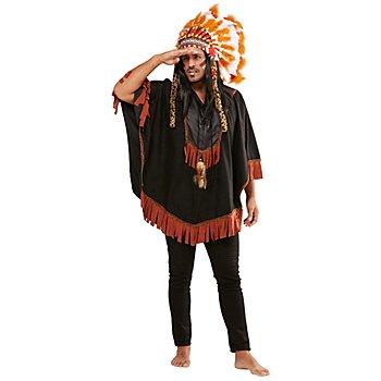 Indianer-Poncho 'Notaku' für Herren, schwarz
