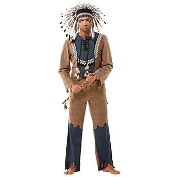 Déguisement Amérindien 'oeil d'aigle', marron/bleu