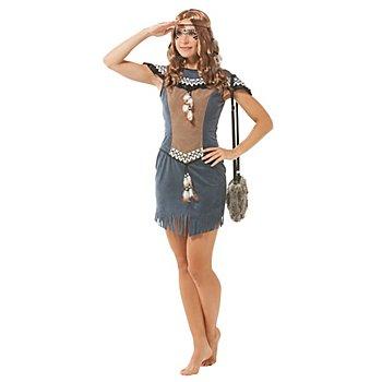 Indianerin-Kostüm 'Aiyana', rauchblau/braun