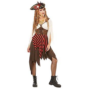 Piratin Kleid für Damen, braun/rot